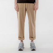 REVERSED TWILL FATIGUE PANTS-BEIGE