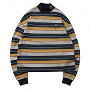 STRIPED HALF TURTLENECK_NAVY