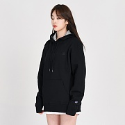 (S0889) POWERBLEND FLEECE PO HOOD-BLACK