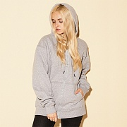 (S0891) POWERBLEND FLEECE FULL ZIP HOODIE-OXFORD GREY