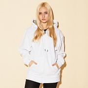 (S0891) POWERBLEND FLEECE FULL ZIP HOODIE-WHITE