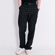 Window Pain Check Wide Slacks (Black)