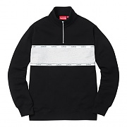Logo Tape Stripe Half Zip Sweat-Black