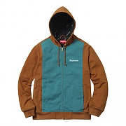2-Tone Hooded Work Jacket-Duck Brown