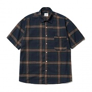 Plaid Check 1/2 Shirts Navy