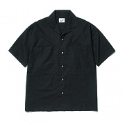 2pocket Linen Half Shirts Black
