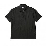 Linen Zip 1/2 Shirt Black
