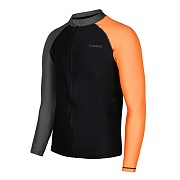 KUA ZIP-UP RASHGUARD-BLACK-DARK GREY-PEACH
