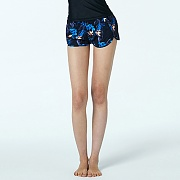 BIKINI COVER-UP SHORTS-TROPICAL V2_BLACK