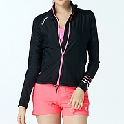 SHELLY RELAX FIT ZIP UP RASHGUARD-BLACK-NEON PINK