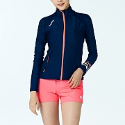 SHELLY RELAX FIT ZIP UP RASHGUARD-NAVY-PEACH