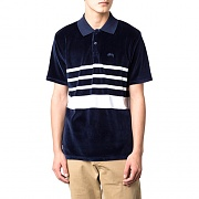 VELOUR STRIPE POLO-NAVY