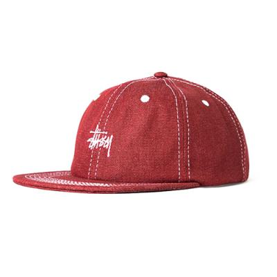 CONTRAST STITCH DENIM STRAPBACK-RED
