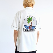 NIGHT BEACH OPEN COLLAR SHIRTS WHITE