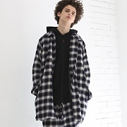 CHECK MAC COAT(NAVY)