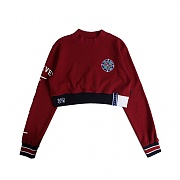 FOREVER YOUNG CROP SWEAT SHIRT_BURGUNDY