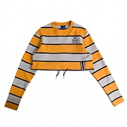 STRIPE CROP SWEAT SHIRT_MUSTARD