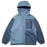 MIXED DENIM ANORAK PARKA-DENIM