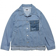 CUT-OFF MIXED DENIM JACKET-DENIM