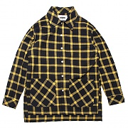 OVER FIT CHECK SHIRTS JACKET-YELLOW