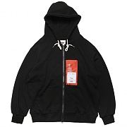 PATCH LABEL HOOD ZIP-UP-BLACK