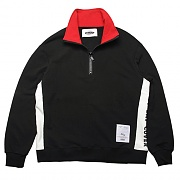 HIGH NECK PULLOVER SWEAT-SHIRTS -BLACK