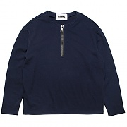 COLLARLESS PULLOVER SWEAT-SHIRTS -NAVY