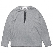 COLLARLESS PULLOVER SWEAT-SHIRTS -GRAY