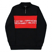 BASIC LOGO PULL OVER SWEAT SHIRTS-BLACK/RED