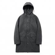 Wool Hooded Coat Dipgray