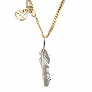 254# SOLIDBRASS FEATHER NECKLACE-NO.1