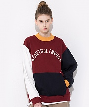 COLOR BLOCK SWEAT SHIRTS BURGUNDY