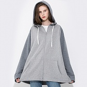 A FIT HOOD ZIPUP GRAY