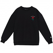 SINGLE ROSE CREWNECK SWEATSHIRT BLACK