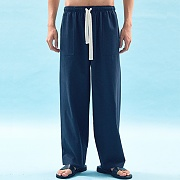 WIDE COTTON SWEAT PANTS(NAVY)