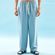 WIDE COTTON SWEAT PANTS(BLUE)