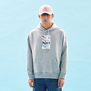 FLY TICKET PRINTED HOODIE(GREY)