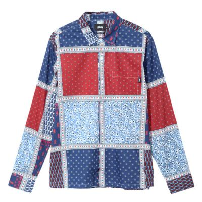 PAISLEY PATCHWORK LS SHIRT-BLUE