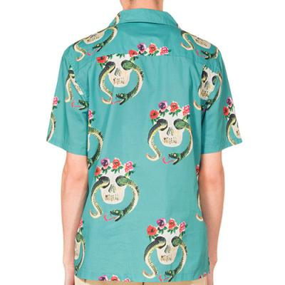 SKULL PATTERN SHIRT-TEAL