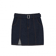 SQUARE BELT STICH DENIM SKIRTS-INDIGO