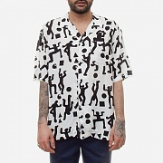 (I024569)S/S WORLD PARTY SHIRT-WORLD PARTY PRINT, WHT/BLK