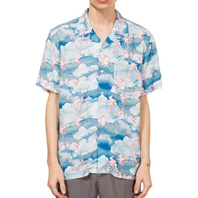 CLOUD AND BIRDS SHIRT-BLUE