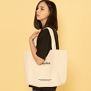 SERIF LOGO ECO BAG-IVORY