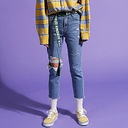 Knee Hole Destroyed Jeans (여성용)(girls)