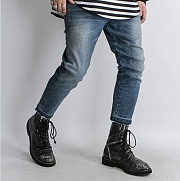 Blue Rough Crop Washed Jean Slim Fit