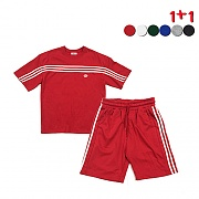 [1+1]Front Panel Striped T-shirt+Side Panel Striped Track Shorts(6color)(unisex)