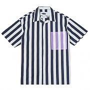 Vertical Stripe Open-collar Shirts (navy)