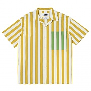 Vertical Stripe Open-collar Shirts (yellow)