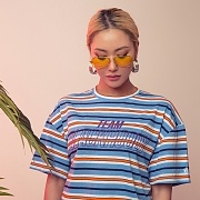 MULTI STRIPE 1/2 TEE SKYBLUE
