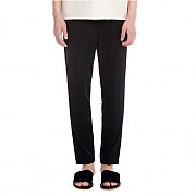 LINEN SLIM PANTS -BLACK
